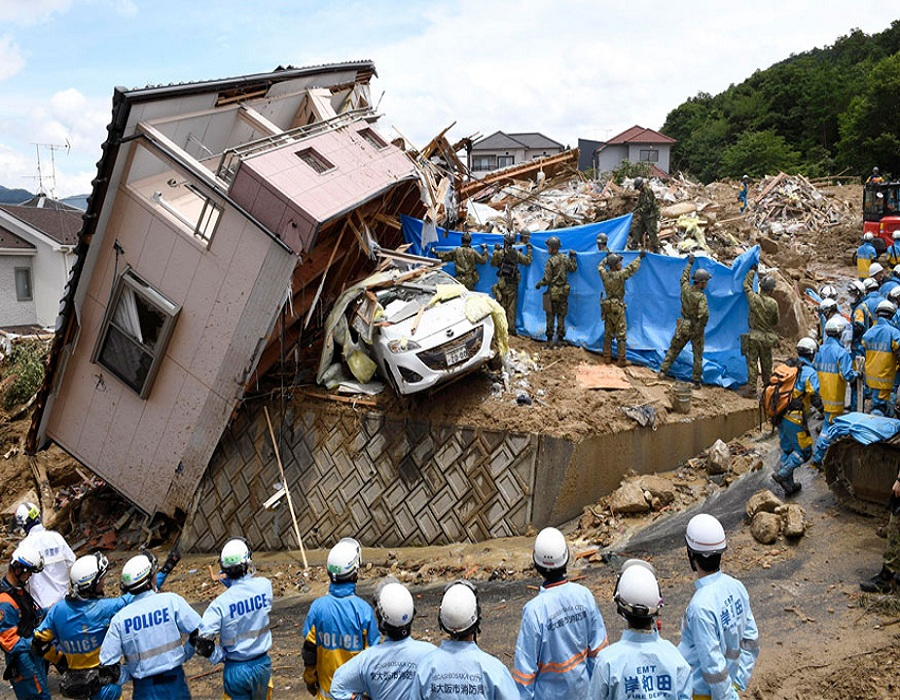 जपानमधील जमीन, इन्फ्रास्ट्रक्चर, वाहतूक आणि पर्यटन मंत्रालयानुसार, सगळे रेकॉर्ड तोजणाऱ्या या पुरामुळे 47 पैकी 28 प्रांतात भूस्खलन होऊन भौगोलिक नैसर्गिक आपत्ती निर्माण झाली आह.