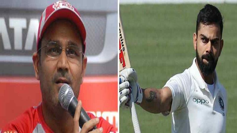 कसोटीमध्ये २३ वे शतक झळकावून विराटने भारताचा माजी सलामीवीर वीरेंद्र सेहवागची बरोबरी केली आहे.