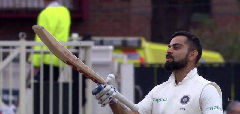 इंग्लंड विरुद्ध तिसऱ्या कसोटी सामन्यात कर्णधार विराट कोहलीने शानदार शतक झळकावले. विराटने 198 चेंडूत 10 चौकार लगावत 103 धावांची खेळी करून बाद झाला.