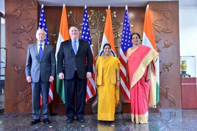 सध्या अमेरिकेचे परराष्ट्र मंत्री माईक पॉम्पियो आणि संरक्षण मंत्री जेम्स मॅटीस मंत्रीस्तरीय चर्चेसाठी भारत दौऱ्यावर आले आहेत.