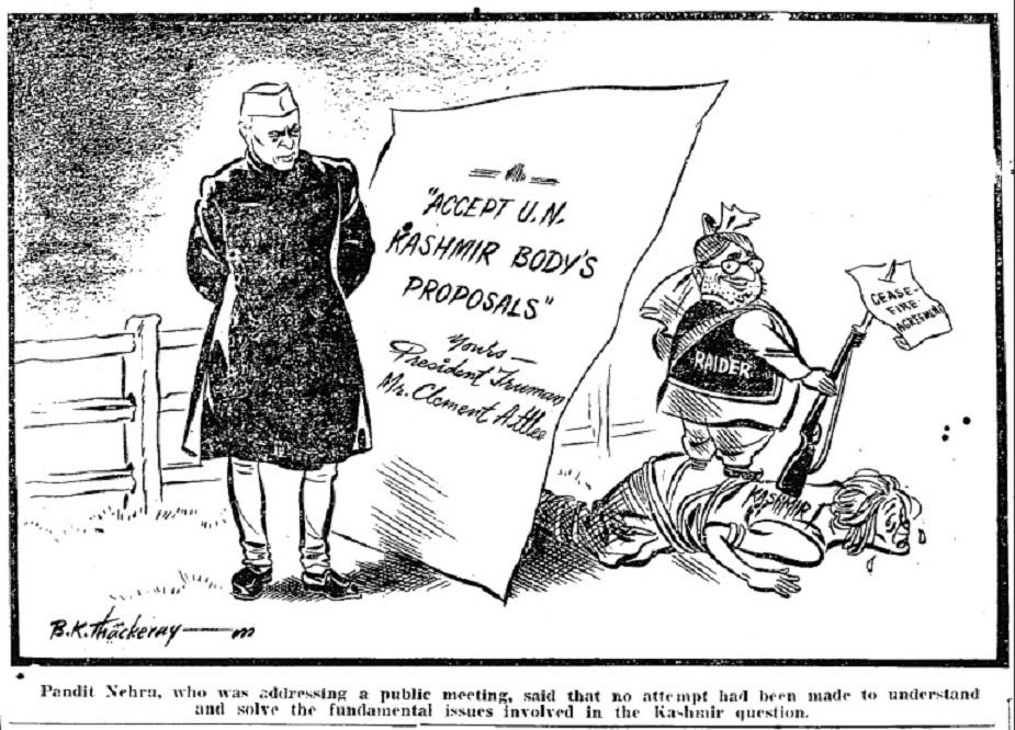 १९४९मध्ये काढलेल्या या कार्टूनमधून काश्मीर समस्येसंबंधात झालेल्या सामंजस्य कराराबद्दल भाष्य केलंय.