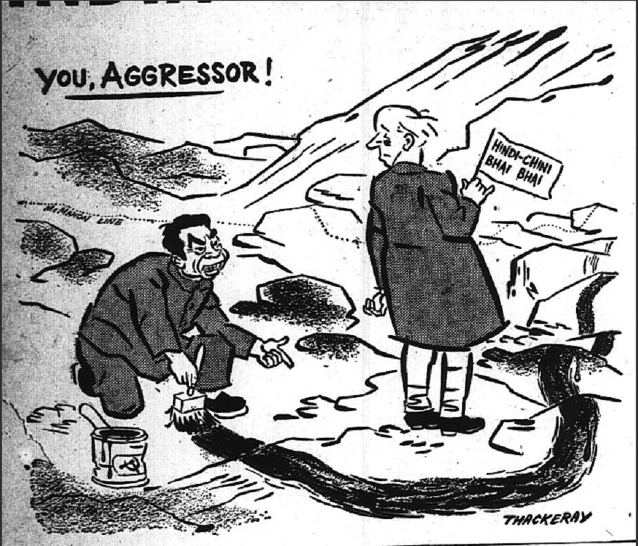 नेहरूंच्या चीन धोरणावर टीका करणारं आणखी एक व्यंगचित्र. हे चित्र 11 सप्टेंबर 1959 रोजी प्रसिद्ध झालं होतं.
