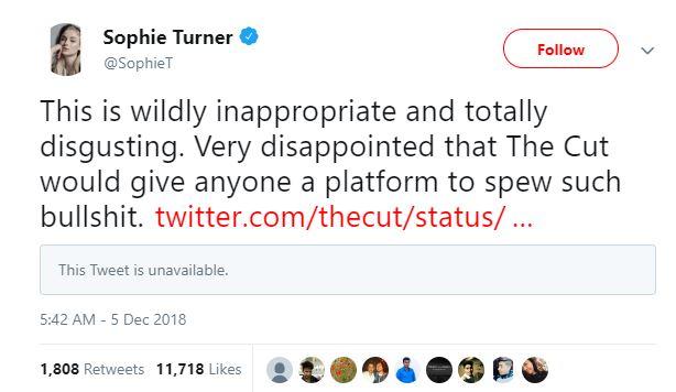 गेम ऑफ थॉर्न्सची अभिनेत्री सोफी टर्नर हिनंही ट्वीट करून याचा निषेध केला. सोफी टर्नर निकच्या भावाची - जो जोनसची गर्लफ्रेंड आहे.