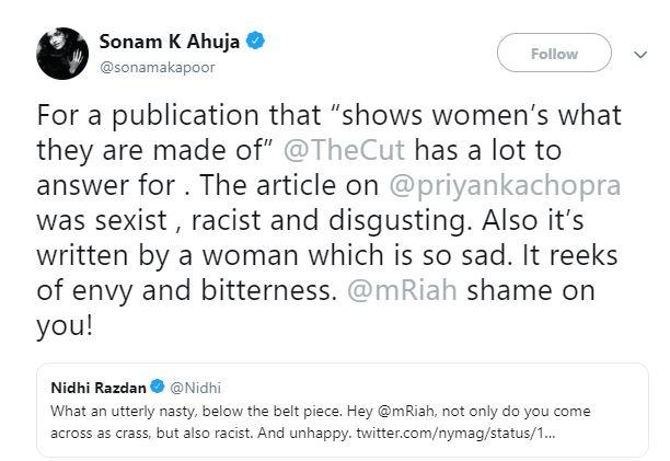 सोनम कपूरनंही कडक शब्दात या मॅगझीनवर टीका केली. स्वतःला स्त्रियांचं मासिक म्हणवणाऱ्यांकडून ही अपेक्षा नाही. हा लेख सेक्सिस्ट, रेसिस्ट आणि घाणेरडा असल्याचं सोनमनं लिहिलंय.