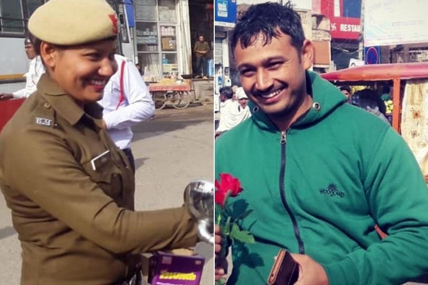 महिला ट्रॅफिक पोलिसाने रस्त्यावरच पतीला दिले गुलाबाचे फुल, इंटरेस्टिंग आहे कारण