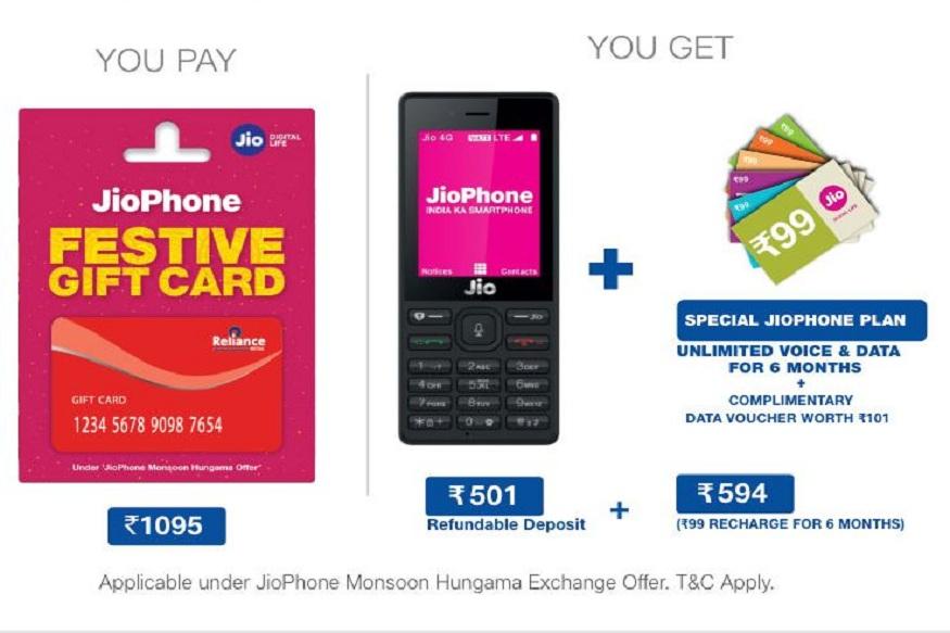 तुम्हाला जर एक्सचेंज ऑफरमध्ये फोन खरेदी करायचा असेल तर तुम्ही जिओच्या वेबसाईट www.jio.com वरून 1095 रुपयांचं 'JioPhone Festive Gift Card' खरेदी करावं लागेल. यानंतर जवळच्या जिओ स्टोअरमध्ये हे कार्ड आणि जुनं फोन जमा करून नवीन फोन रिचार्जसोबत मिळेल. तुम्ही जमा करत असलेलं जुनं फोन चालू कंडिशनमध्ये असणं गरजेचं आहे.