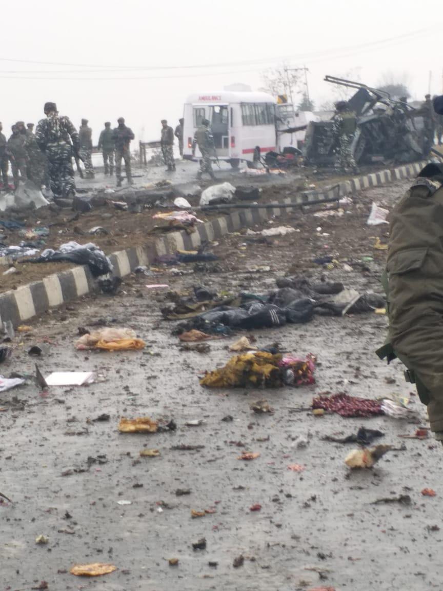 २५०० जवांनाचा ताफा पुलवामा जिल्ह्यातील श्रीनगर- जम्मू राजमार्गावरून जात होता. यावेळी सुमारे १०० किलो स्फोटकांनी भरलेली गाडी बस जवळ येताच त्याचा स्फोट करण्यात आला. यात ४४ जवानांचा जागीच मृत्यू झाला.