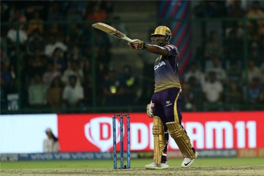 आंद्रे रसेलनं 23 चेंडूत 6 षटकार आणि 4 चौकारांच्या मदतीने अर्धशतक साजरं केलं.