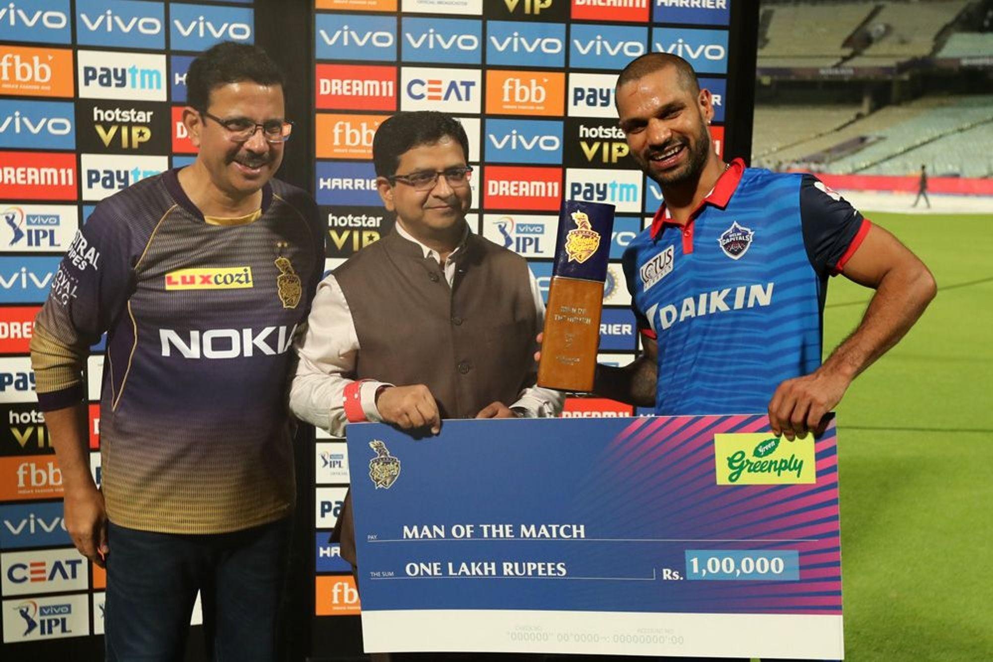 दिल्लीला 7 विकेटने विजय मिळवून देण्यात शिखर धवनने महत्त्वाची भूमिका बजावली. त्याने 63 चेंडूत 11 चौकार आणि 2 षटकारांसह नाबाद 97 धावांची खेळी केली. ही धवनची आयपीएलमधील सर्वोच्च धावसंख्या आहे.
