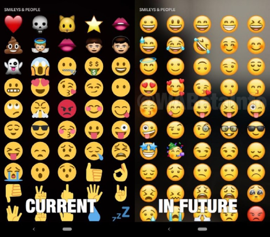 WhatsApp अपडेट झाल्यानंतर डूडल फिचरमधील जुने Emojis गायब होणार असून, त्याजागी ऑफिशियल Emojis येतील. जुन्या आणि नव्या Emoji मध्ये काय बदल होणार आहे हे सोबतच्या स्क्रीनशॉटवरून तुम्हाला लक्षात येईल.
