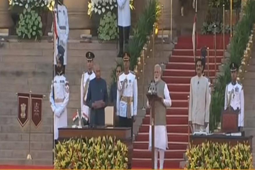 नरेंद्र मोदी यांनी दुसऱ्यांदा पंतप्रधानपदाची शपथ घेतली. राष्ट्रपदी रामनाथ कोविंद यांनी त्यांना शपथ दिली.
