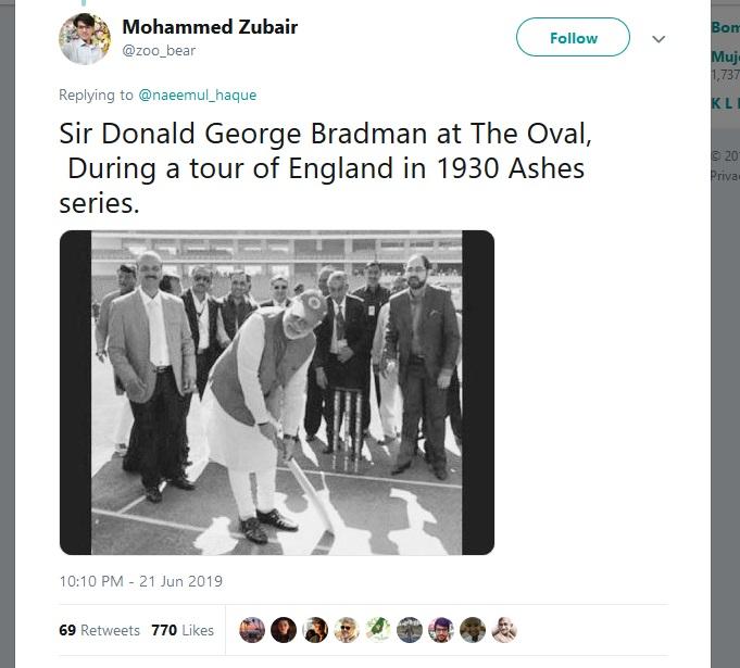 पाकचे पंतप्रधान म्हणून सचिनचा फोटो वापरत असतील तर सर डॉन ब्रॅडमन म्हणून भारताचे पंतप्रधान नरेंद्र मोदी यांचा फोटो एका युजरने वापरला आहे.
