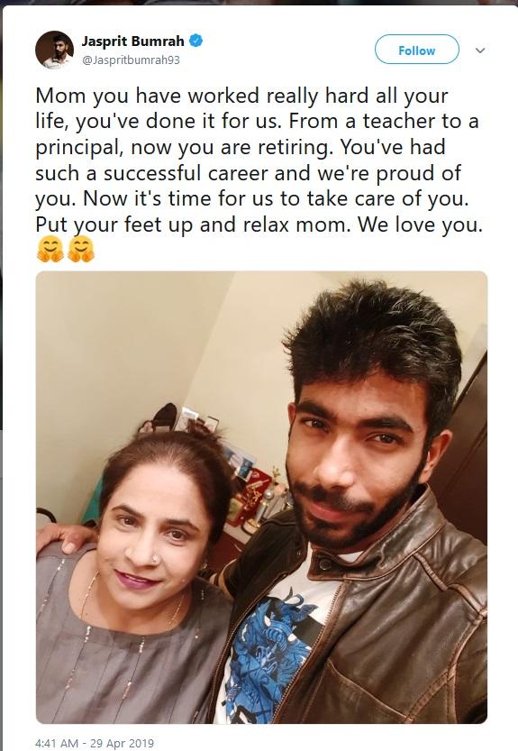 बुमराहने याआधीही त्याच्या आईसोबतचे फोटो ट्विटरवर टाकून भावनिक कॅप्शन दिले होते. माझ्यासाठी खूप केले आहेस आता माझी वेळ आहे असं त्याने यापूर्वी केलेल्या ट्विटमध्ये म्हटलं होतं.