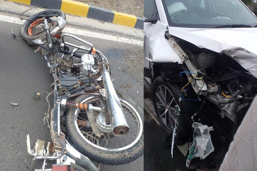 अडूळजवळ दुचाकी-गाडीचा भीषण अपघात, एकाचा जागीच मृत्यू