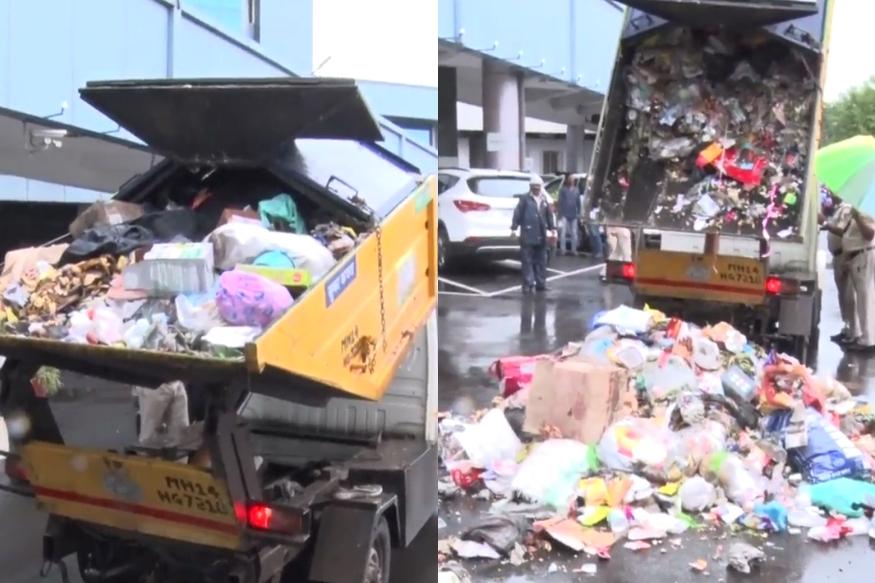 भाजप नगरसेवकाने महापालिकेच्या मुख्यालयासमोरच रिचवली कचऱ्याची गाडी