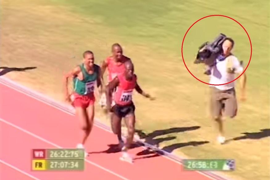धावपटूने नाही तर कॅमेरामनने जिंकली शर्यत, VIDEO पाहून तुम्हाही हसून लोटपोट व्हाल
