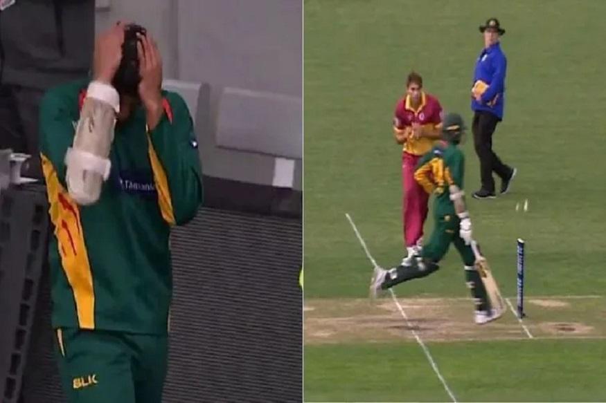 असं कोण आऊट होतं का? बघा क्रिकेटपटूला अतिआत्मविश्वास कसा नडला, VIDEO VIRAL