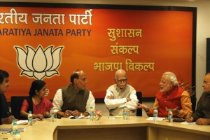 Nitin Gadkari, Sushma Swaraj, Rajnath Singh, Lal Krishna Advani, Narendra Modi, Arun Jaitley