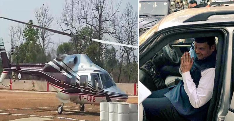 गडचिरोलीत मुख्यमंत्र्यांच्या हेलिकॉप्टरमध्ये बिघाड, 25 किमी करावा लागला कारने प्रवास