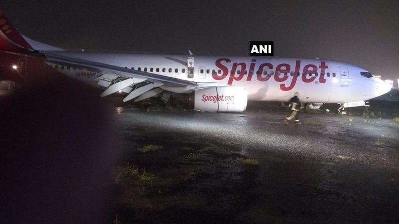 मुंबई विमानतळावर स्पाईस जेटचं विमान घसरलं