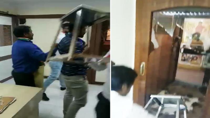 'नाणार'वरून मनसेनं रत्नागिरी पेट्रोकेमिकलचं फोडलं ऑफिस