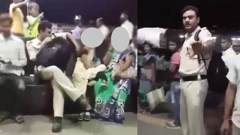 VIDEO: कल्याण स्टेशनवर आरपीएफ जवान महिलेशी अंगलट,लोकांनी दिला चोप