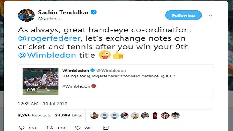 त्याचा हा शॉट पाहून सचिनने ट्विटरवर रॉजरला म्हटले की, तू नववं विंबल्डन जिंकल्यावर क्रिकेटचे धडे घ्यायला सुरूवात कर. आतापर्यंत फेडररने आठ वेळा विंबल्डन स्पर्धा जिंकली आहेय