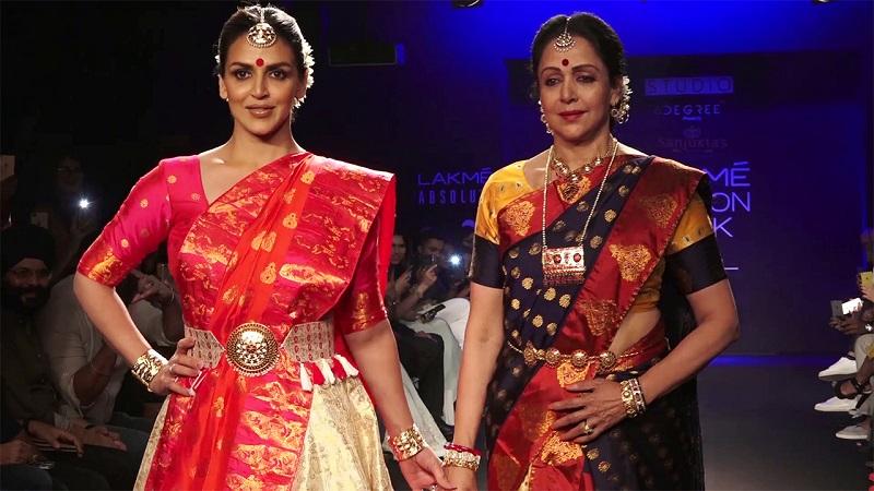 अभिनेत्री आणि खासदार हेमा मालिनी यांनी लॅक्मे इंडिया फॅशनवीकमध्ये सहभाग घेतला.. आसाममधल्या विणकर महिलांनी ही साडी तयार केली आहे.. त्यांच्या व्यवसायाला चालना मिळावी, यासाठी हेमा मालिनी यांनी आसामच्या विणकरांनी विणलेली साडी परिधान केली होती.
