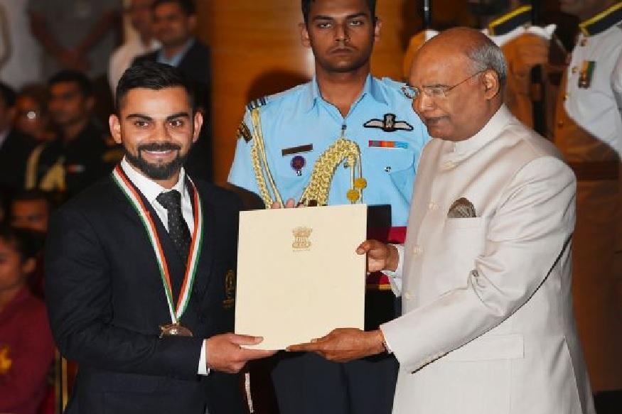 PHOTOS : कोहली, चानू, राही सरनोबतचा खेल रत्न पुरस्काराने गौरव