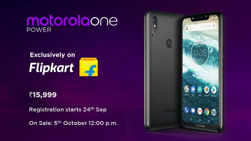 Motorola One Power ची किंमत 15,999 रुपये ठेवण्यात आलीये. 24 सप्टेंबर 2018 पासून या फोनची प्री-बुकिंग सुरू होणार आहे. या फोनची थेट विक्री 5 आॅक्टोबरपासून होईल. हा फोन तुम्हाला फिल्पकार्टवर खरेदी करता येईल.