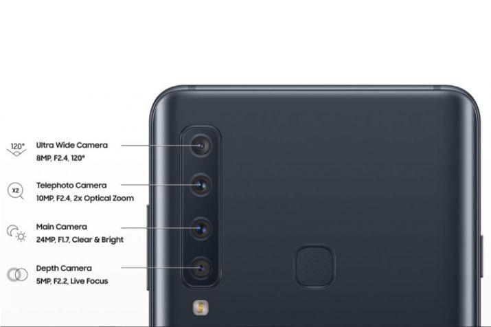 मुख्यत: 4 कॅमेऱ्यामुळे हा फोन ओळखला जाणार आहे. त्याचबरोबर सेल्फी कॅमेरा या चार कॅमेऱ्यापासून वेगळा असणार आहे. Galaxy A9 फोनमध्ये 24 Megapixel चा सेल्फी कॅमेरा असेल ज्यात Depth effect म्हणजेच फोकस करण्यासाठी 5 Megapixel आणि 8 Megapixel चा Ultra wide angle cencor असेल. 120 डिग्रीमध्ये view angle घेऊ शकता. स्मार्ट फोनमधील चौथा कॅमेरा 10 Megapixel चा आहे.