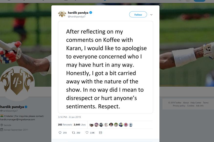 ट्विटरच्या माध्यमातून त्याने सगळ्यांनी माफी मागितली आहे. मला कोणाच्याही भावना दुखवायच्या नव्हत्या असं हार्दिक पांड्याने त्याच्या ट्विटमध्ये लिहलं आहे.