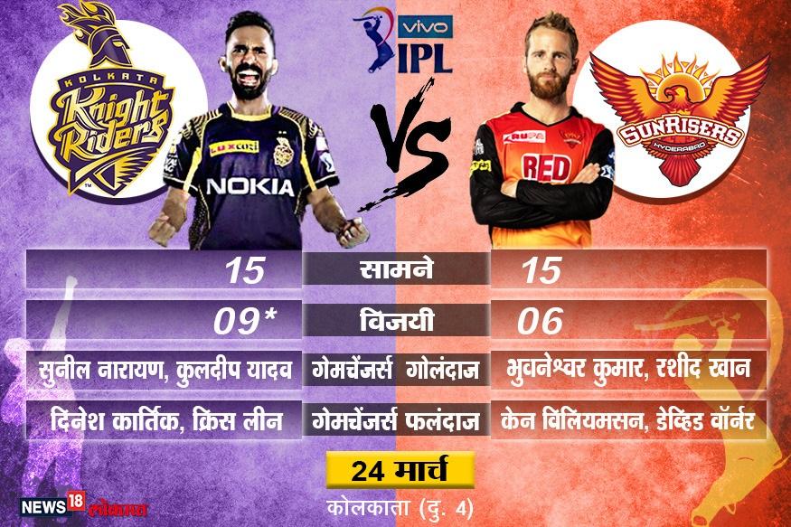IPL 2019 : KKR ला घरच्या मैदानावर SRH चे आव्हान