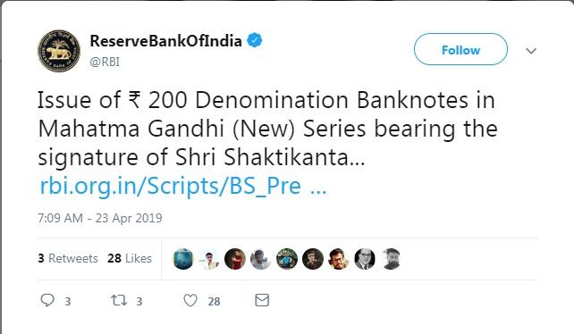 चलनात असलेल्या आणि नव्याने जारी करण्यात येणाऱ्या 200 आणि 500 रुपयांच्या नोटा सर्वच वैध राहतील, असं रिजर्व बँकेने स्पष्ट केलं आहे. नव्या नोटा दिसायला आधीपासूनच चलनात असलेल्या नोटांसारख्या असतील असंही RBI ने ट्वीटमध्ये म्हटलं आहे.