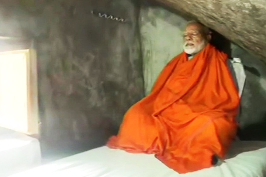 Narendra Modi is meditating in the cave at Kedarnath