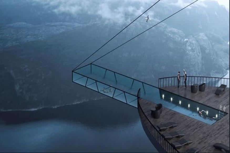 हे हॉटेल डोंगराच्या अगदी कडेवर बांधलं जाणार आहे. या स्विमिंग पूलमध्ये डुंबायला तर धम्माल येईल.