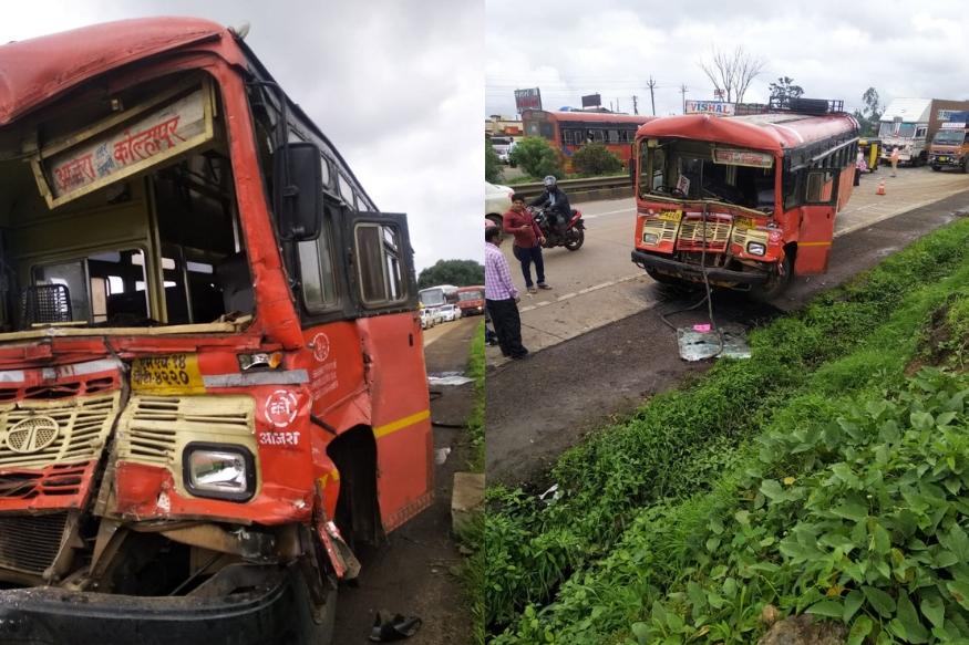 ST महामंडळाची बस कंटेनरला धडकली, 32 प्रवासी जखमी