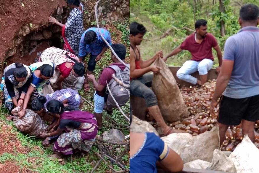 आदिवासी महिलांची थरारक कारवाई, जप्त केल्या 7 हजार दारुच्या बाटल्या