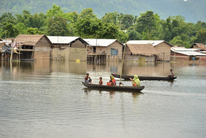 काझीरंगा नॅशनल पार्कजवळ राहणाऱ्या गावकऱ्यांनाही पुराच्या पाण्यातून अशा बोटींमधून ये जा करावी लागते आहे.
