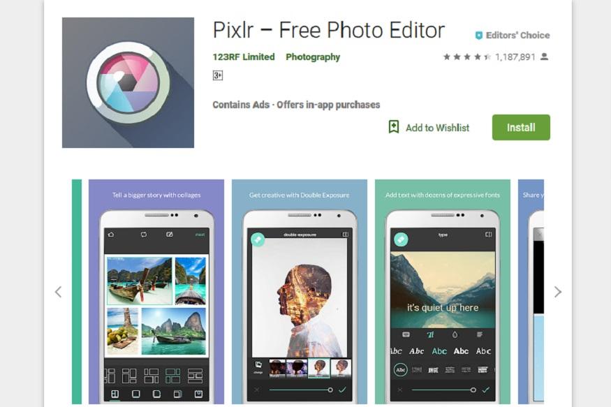 Pixlr या अॅपमध्ये अनेक फीचर्स देण्यात आली असून वेगवेगळ्या पद्धतीनं फोटो एडिट करता येतो. यात फोटो एडिटिंग सहज आणि सोप्या पद्धतीनं करता येतं. बेसिक एडिट, रिसाइज, रोटेट किंवा क्रॉप करण्यासाठी हे अॅप बेस्ट आहे.