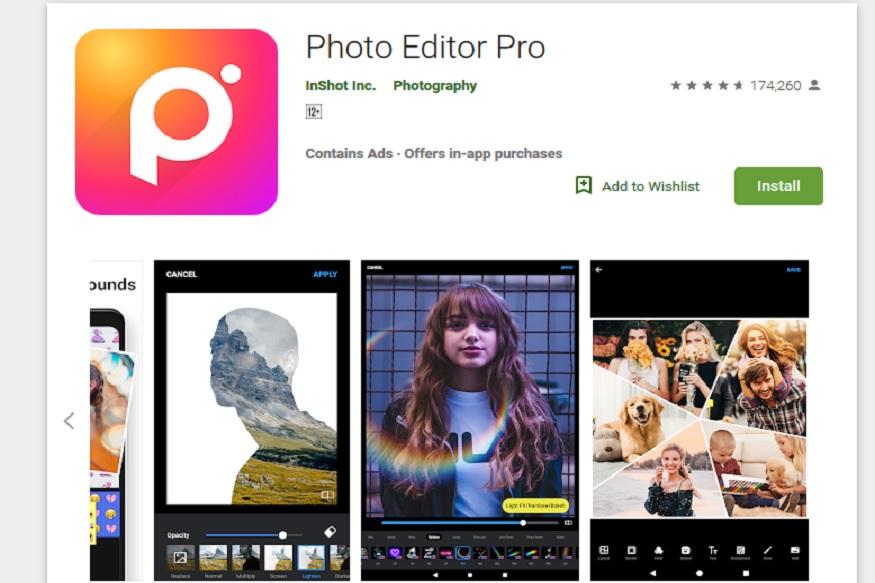 Photo Editor Pro यात स्टायलिश इफेक्ट, फिल्टर्स, ग्रिड आणि ड्रॉ टूल्स आहेत. फोटो एडिटर प्रो या अॅपवर एडिट केलेला फोटो थेट इन्स्टाग्राम, व्हॉटस्अॅप, फेसबुकवर शेअर करता येतो.