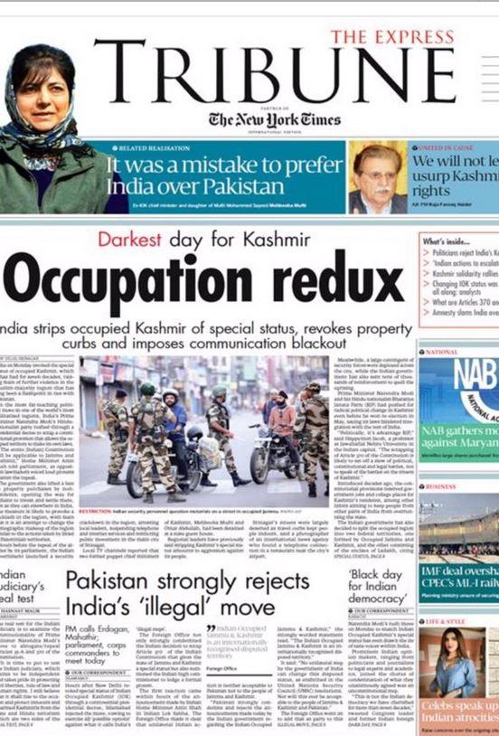 'द ट्रिब्युन'नेही काश्मीरमधील काळा दिवस असं म्हणत भारताच्या निर्णयाविरोधातील मथळा दिला आहे.