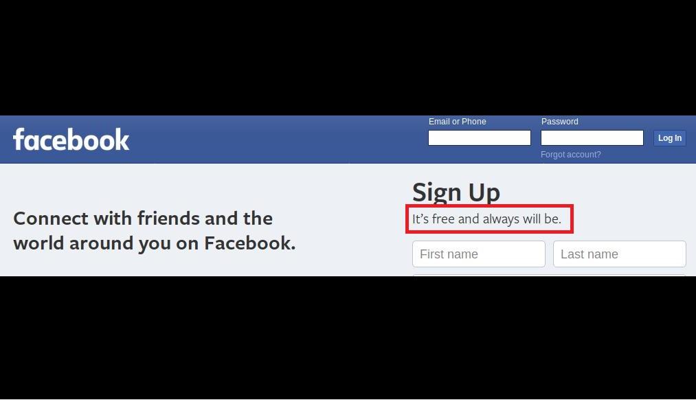 फेसबुकने सुरुवातीला त्यांच्या मेन पेजवर नेहमी पूर्णपणे मोफत असं म्हटलं होतं. आता त्यांनी ही टॅगलाईन हटवली आहे. साइन अप ऑप्शनच्या खाली 'It's Free and always will be' अशी टॅगलाईन होती. त्याच्याऐवजी आता 'It's quick and easy' असा बदल करण्यात आला आहे. फेसबुकच्या मेन पेजवर हा बदल दिसतो.