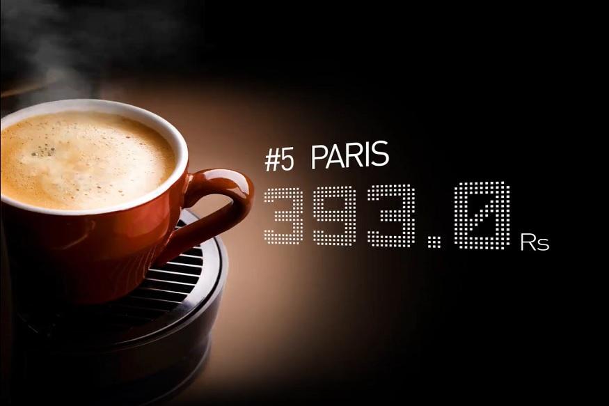 पॅरिसमध्ये एका कॅपेचिनो कॉफिची किंमत आहे 393 रुपये.