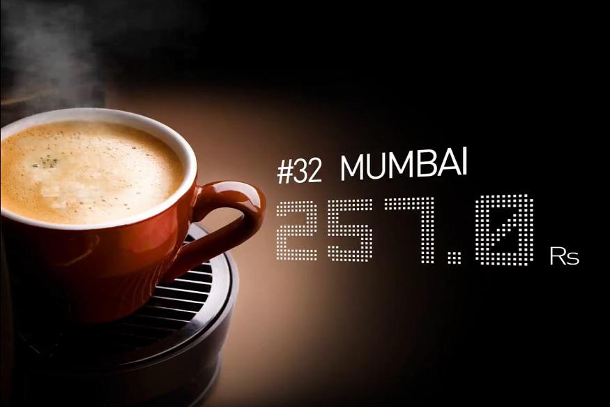 कॉफीसाठी महागडी किंमत चुकवण्यात मुंबईचा क्रमांक 32 वा आहे. मुंबईत कॅपेचिनो कॉफी पिण्यासाठी तुम्हाला 257 रुपये मोजावे लागतात.