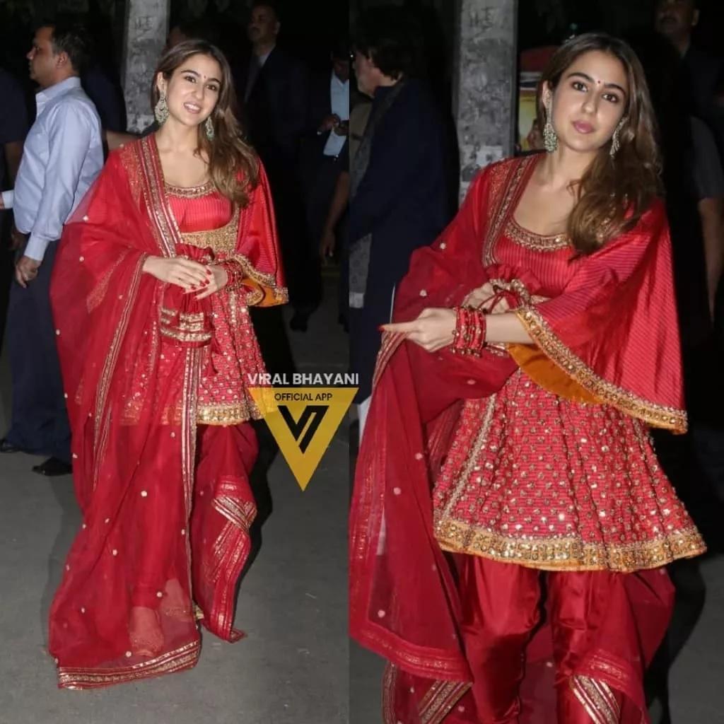 सारा अली खानने अमिताभ बच्चन यांच्या पार्टीत लाल सूट घातला होता.