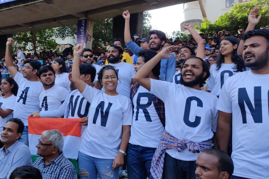 या सामन्यावेळी 'NO CAA' आणि 'NO NRC' असे टी-शर्ट घालून निशेष करण्यात आला आहे.