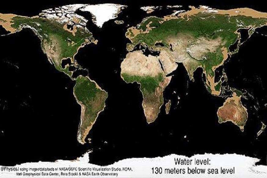 दुसरा फोटो: जेव्हा पाण्याची पातळी 130 मीटर खाली जाईल तेव्हा या चित्रामध्ये आपल्याला उत्तर अमेरिका, ऑस्ट्रेलिया, रशिया, सायबेरिया या देशांच्यावर तपकिरी रंगात जमीन दिसत आहे. तर, युरोपच्या पूर्वेस, मध्य-पूर्व आशिया, चीन, जपान, मलेशिया इत्यादी भागात हलकी तपकिरी जमीन दिसू लागेल.