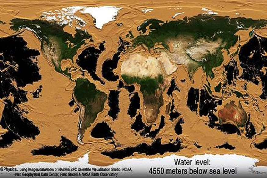 चौथे चित्र: पृथ्वी पुर्णत: वाळवंट होईल  चौथ्या चित्रात, आपण पृथ्वी एक वाळवंट होत असल्याचे भयानक चित्र पाहू शकता. या चित्रात, वाळवंटांनी वेढलेले खंड दर्शविले आहेत. मध्यभागी दिसणारा काळ्या रंगाचा भाग हा खोल गेलेला समुद्र दर्शवत आहे. या चित्रात समुद्राचे पाणी 4550 मीटर खाली गेले आहे, असे दाखवण्यात आले आहे.