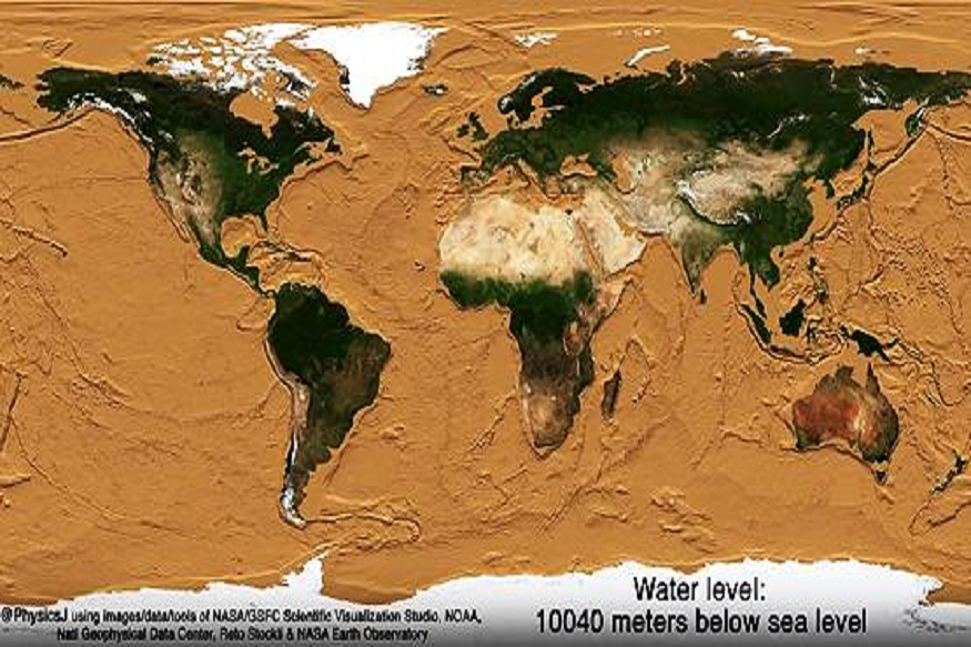 पाचवे चित्र: 10040 मीटर पाण्याखाली, म्हणजेच समुद्र गायब या चित्रात नासाने पृथ्वीवरील सर्व समुद्र कोरडे झाल्याचे स्पष्टपणे दर्शविले आहे. वाळवंट सर्व खंडातून व्यापलेले आहे. म्हणजेच आपल्या पृथ्वीवरील समुद्रात सापडलेले सर्व प्राणी नष्ट झाले आहेत. समुद्रामार्गे व्यापार संपला. येथे फक्त वाळवंट आणि वाळू शिल्लक आहे.